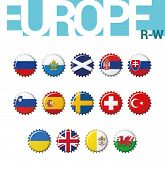 Set Of 14 Bottle Cap Flags Of Europe (r-w). Set 4 Of 4. Vector Illustration. Russia, San Marino, Sco poster