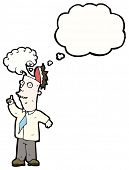 cartoon man with overheated brain