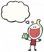 cartoon grinning man on payday