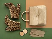 Top View On A Pair Of Trendy Leopard Print Boots, Crocodile Crossbody Bag, Leather Gloves, And Makeu poster