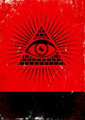 stock photo of freemason  - Red and black poster with pyramid and eye - JPG