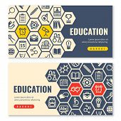 Education Flat Icons Horizontal Banners. Two Horizontal Banners With Shadows On A White Background W poster