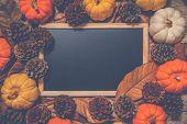 Top View Of Halloween Day And Thanksgiving Day, Orange Pumpkin, Yellow Pumpkin, White Pumpkin, Knitt poster