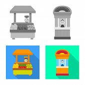 Vector Illustration Of Amusement And Store Icon. Set Of Amusement And Urban Stock Symbol For Web. poster