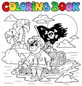 Coloring book with pirate topic 2 - vector illustration.