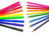 Colorful Markers And Pencils On White Background
