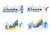 Team Achieving Goals Illustration Set. People Inserting Key To Lock Together, Running To Target. Bus poster