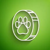 White Line Paw Print Icon Isolated On Green Background. Dog Or Cat Paw Print. Animal Track. Vector I poster