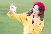 Application For Smartphone. Video Call Concept. Modern Communication. Girl Hold Smartphone Taking Se poster