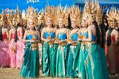 Beautiful Surin Thai Dancers Standing