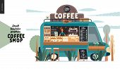 Coffee Shop -small Business Illustrations -food Truck -modern Flat Vector Concept Illustration Of A  poster