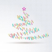 Sprinkle With Grains Of Desserts. Abstract Pattern With Sprinkles Grainy Of Tree On A Transparent Ba poster