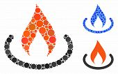 Fire Place Mosaic For Fire Place Icon Of Small Circles In Various Sizes And Color Tones. Vector Smal poster