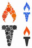 Fire Torch Mosaic For Fire Torch Icon Of Round Dots In Variable Sizes And Color Tints. Vector Round  poster