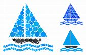 Yacht Mosaic For Yacht Icon Of Filled Circles In Variable Sizes And Color Hues. Vector Filled Circle poster