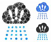 Storm Cloud Mosaic For Storm Cloud Icon Of Filled Circles In Different Sizes And Color Hues. Vector  poster