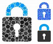 Lock Mosaic For Lock Icon Of Small Circles In Various Sizes And Color Tones. Vector Round Dots Are G poster