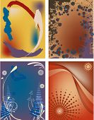 Four Modern Postcard Backgrounds