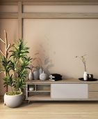 Wooden Cabinet Japan Style On Room Ryokan And Decoration Japan Style Minimal Design.3D Rendering poster