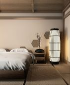 Wooden Bed Japanese Style And Zen Lamp On Tatami Mat Design Hexagon Wooden Tiles Wall.3D Rendering poster