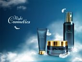 Womens Night Cosmetics 3d Realistic Banner With Facial Cream Jar, Moisturizing Lotion Tube, Cosmetic poster