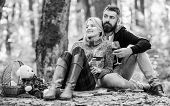 Happy Loving Couple Relaxing In Park Together. Romantic Picnic With Wine In Forest. Couple In Love C poster