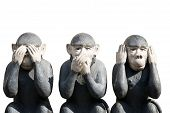 Three monkeys carved