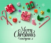 Christmas Elements Vector Banner Background. Merry Christmas Typography Text With Xmas Objects And E poster