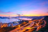 foto of tsing ma bridge  - Sunset at Tsing Ma Bridge - JPG