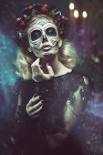 Day of The Dead. Charming and dangerous Calavera Catrina in an old abandoned house. Sugar skull girl poster