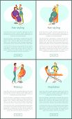 Hair Styling Stylists And Visagiste Working With Clients. Set Of Posters Set Vector Depilation Wax E poster
