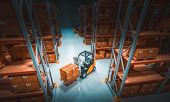 interior of a storage warehouse with shelves full of goods and forklifts in action. 3d image render. poster
