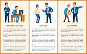 Worker Control, Bad Job And Dismissal. Boss Leader Of Company And Worker Vector Posters. Director Ch poster