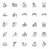 Massage Therapy Line Icons Set. Spa Salon Linear Style Symbols Collection, Outline Signs Pack. Vecto poster