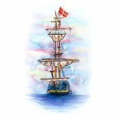 Watercolor Sketch Of Danish Sailing Ship In Copenhagen, Denmark. poster