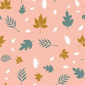 Scattered Fall Leaves Seamless Vector Background. Abstract Fall Pattern Pink Teal White Gold Brown.  poster