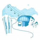 Ski Resort Vacation With Ski Lift. Winter Outdoor Holiday Activity Sport In Alps, Landscape With Mou poster