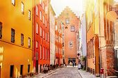 Colorful Houses In The Old Cozy Medieval Street Of Copenhagen, Denmark. poster