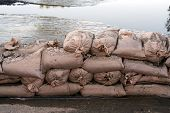Flood Sandbags And Water