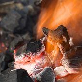 Brennende Kohle