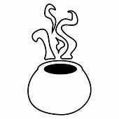 Magic Witch Cauldron Of Boiling Liquid. Magical Boiler. Magic Potion For Halloween. poster
