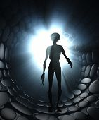 stock photo of outerspace  - Alien warrior 3d illustration science fiction scene - JPG