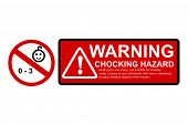 Vector Red Black, Caution Sign, Warning Or Caution Hazard Not Suitable For Children Under 0 - 3 Year poster