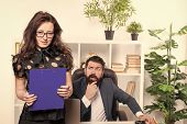 Manager Responsible For Managing Office. Sensual Office Manager With Boss On Background. Project Man poster