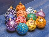 Modern Christmas Decor. Balls With Glitter And Shimmering Decorative Ornaments. Christmas Ornaments  poster