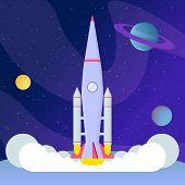 Rocket Liftoff, Landing Flat Vector Illustration. Cosmos Exploration Program, Space Expedition, Inte poster