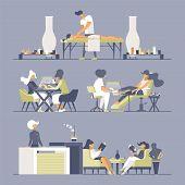Beauty Salon Flat Vector Illustrations Set. Manicurists, Masseur, Receptionist And Customers Cartoon poster