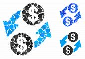 Dollar Exchange Mosaic Of Round Dots In Various Sizes And Shades, Based On Dollar Exchange Icon. Vec poster