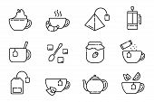 Set Of Simple Outline Icons With Tea Party Stuff - Tea Brewing Equipment, Cups, Kettle, Tea Bag, Fre poster