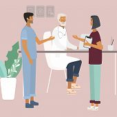 Doctors And Nurses Discussing And Talking. Teamwork Of Medical Specialists At The Clinic . Flat  Vec poster